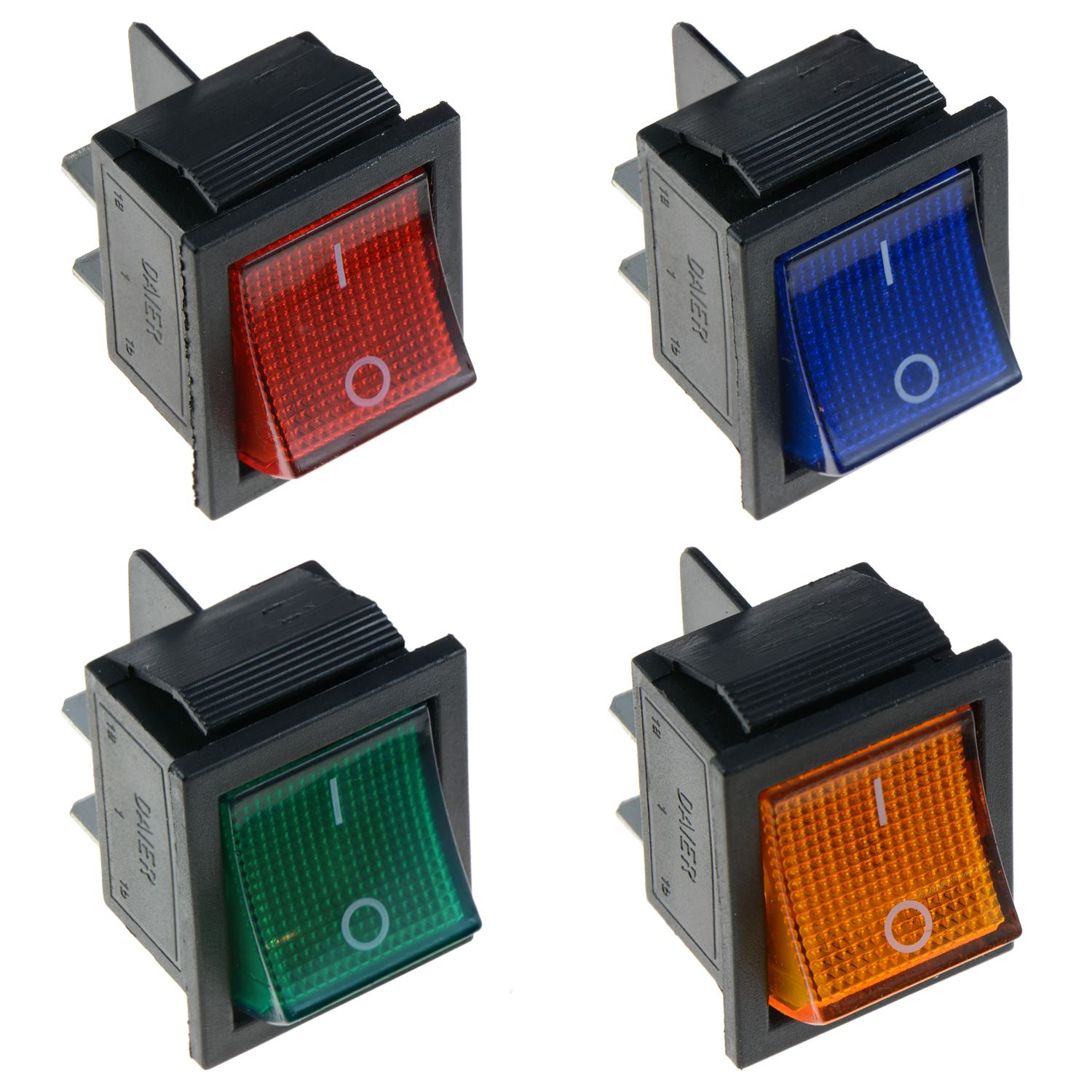 Illuminated Large On-Off Rocker Switch 12V DPST - Red Blue Green ...