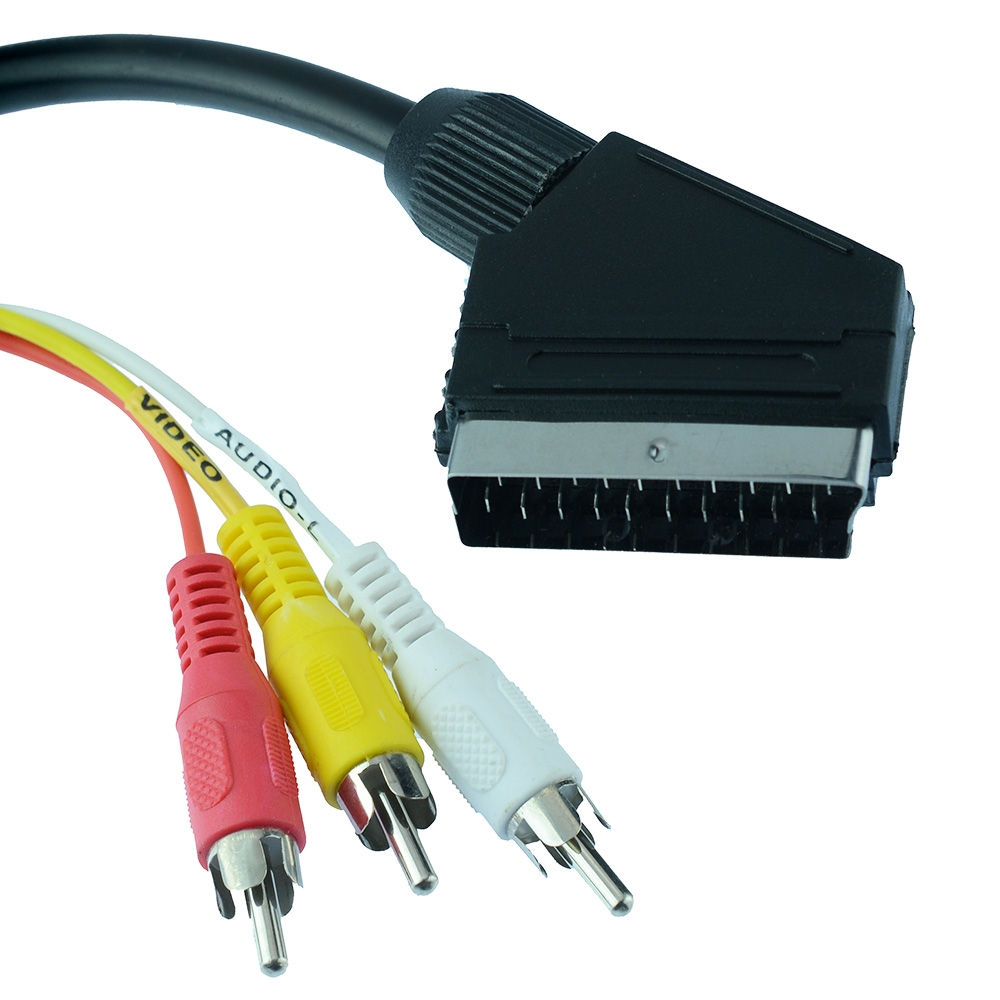 3 RCA to Scart Plug Cable