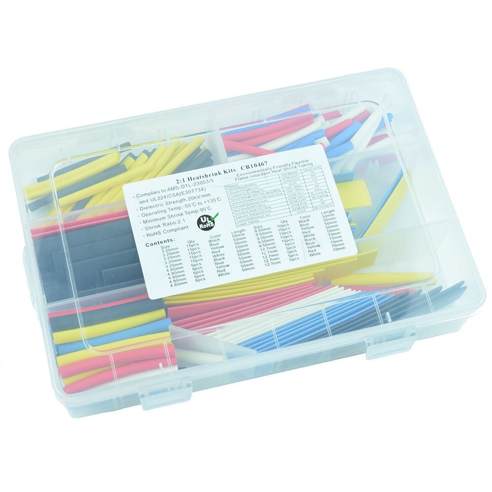 180pcs Heat Shrink Tubing Kit 2:1